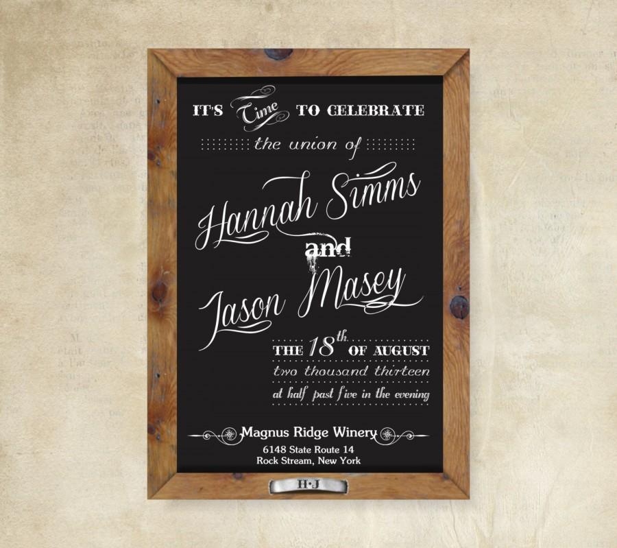 زفاف - Chalkboard Rustic Wedding Invitation Suite: 5x7 Invitation, RSVP Card, Envelopes, Seal