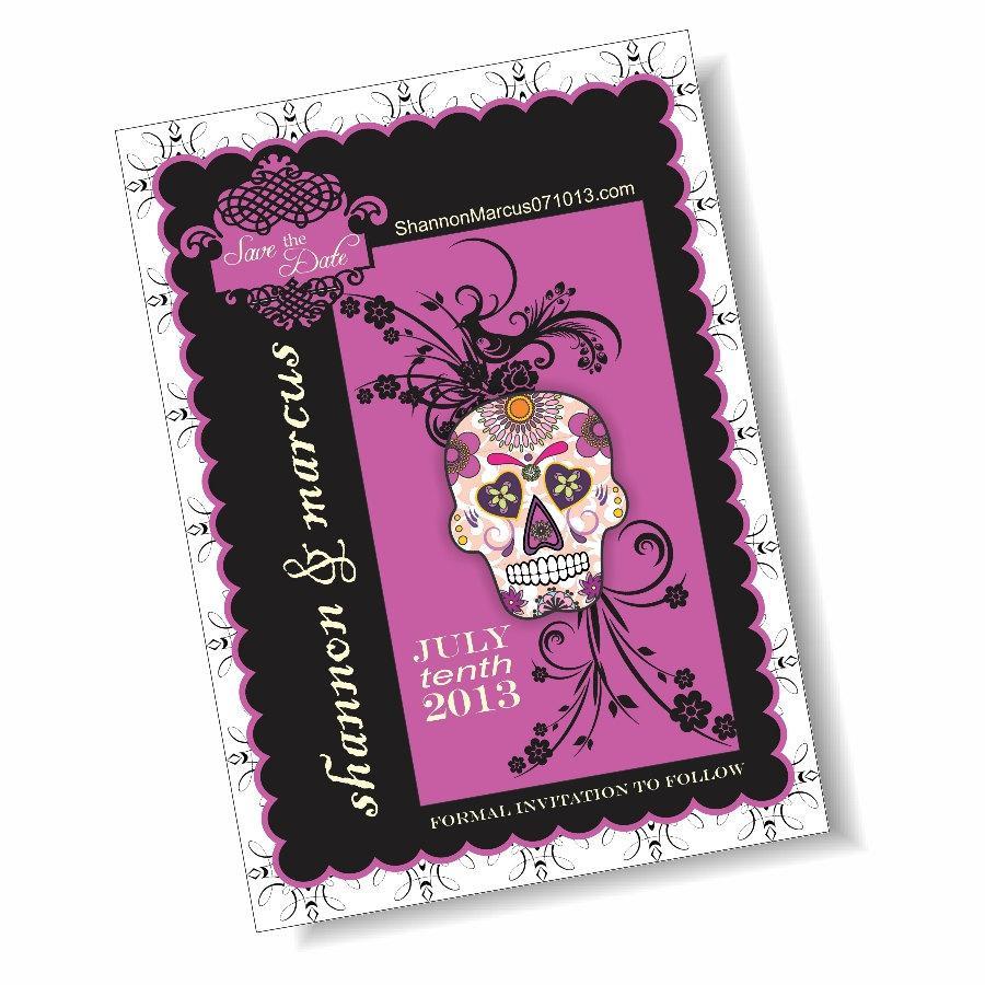 زفاف - Sugar Skull Dia de los Muertos 5x7 Save the Date Announcement
