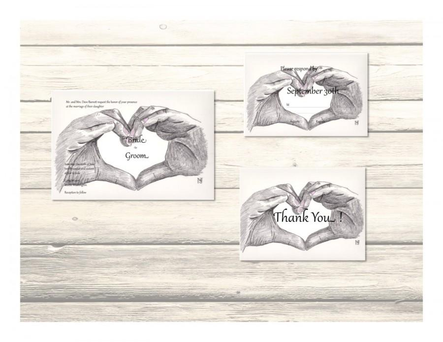 "زفاف - Set of ""Love You"" Wedding Invitation, RSVP & Thank You Cards Customizable - Printable Digital Download"