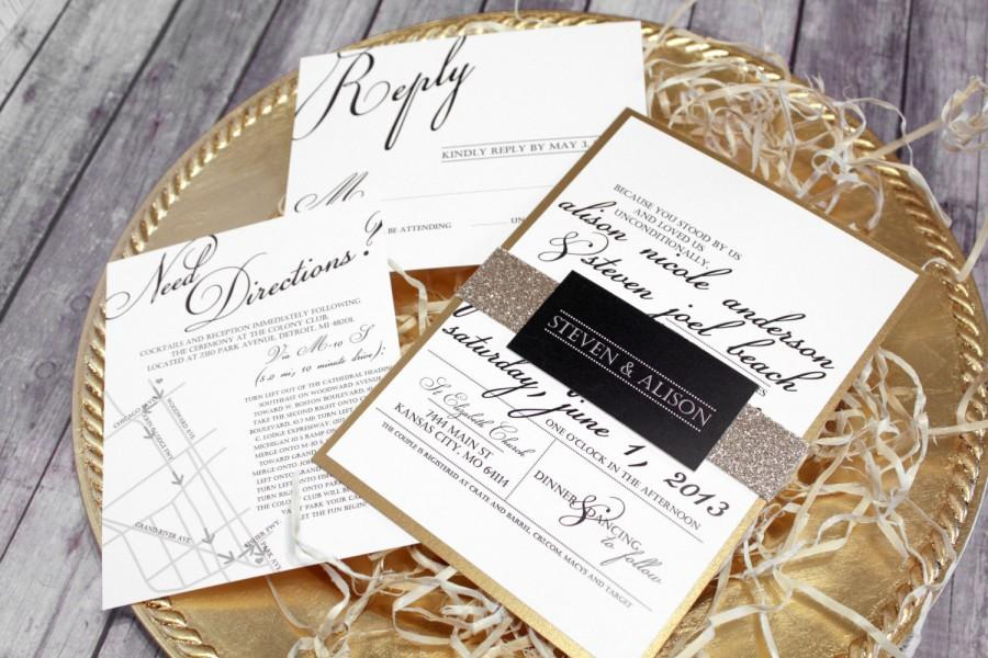 "زفاف - Black, White & Gold Wedding Invitation Set – Classic  Modern Wedding Invitations – Custom Elegant Wedding Invite – ""Classic Script"" Sample"