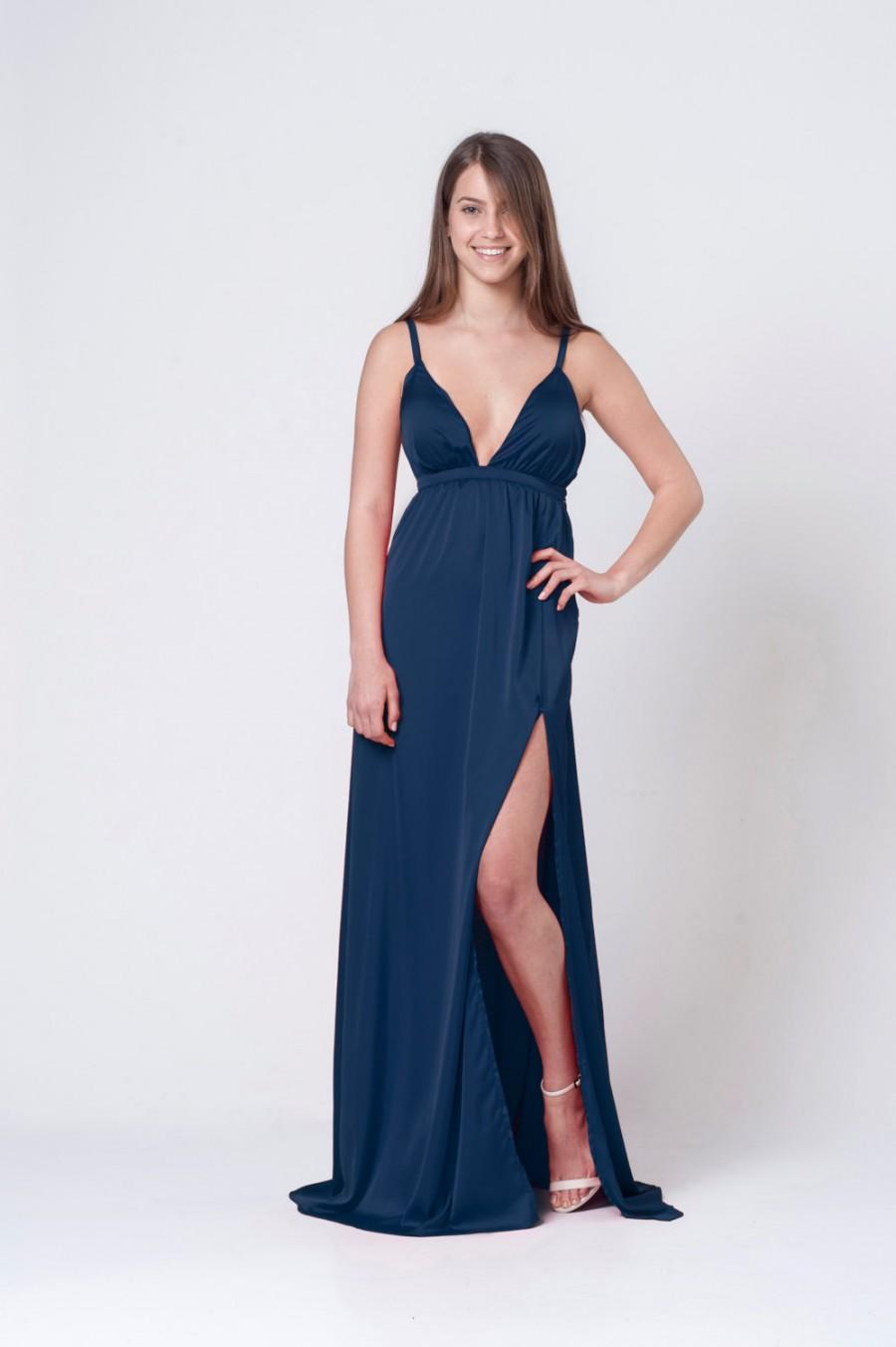 61958bbd24 Blue satin bridesmaid dress - open back maxi dress - Deep front opening  dress - spaghetti Royal blue dress