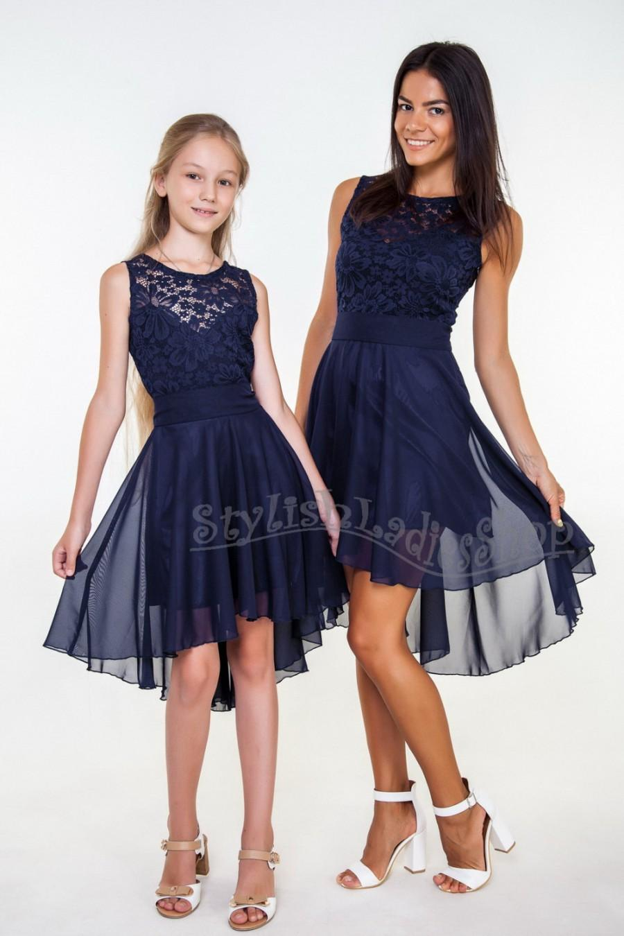 Navy Blue Bridesmaid Dress Lace Bridesmaid Dress Short Chiffon