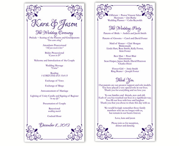 Wedding - Wedding Program Template DIY Editable Word File Instant Download Program Purple Program Floral Program Printable Wedding Program 4x9.25inch