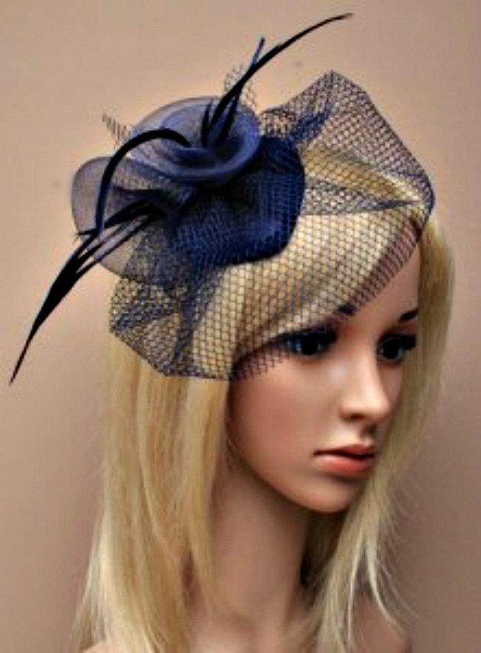 Navy Blue Hat Fascinator Flower Feather Head Piece Mother Of The Bride Christening Ascot Races Derby Wedding
