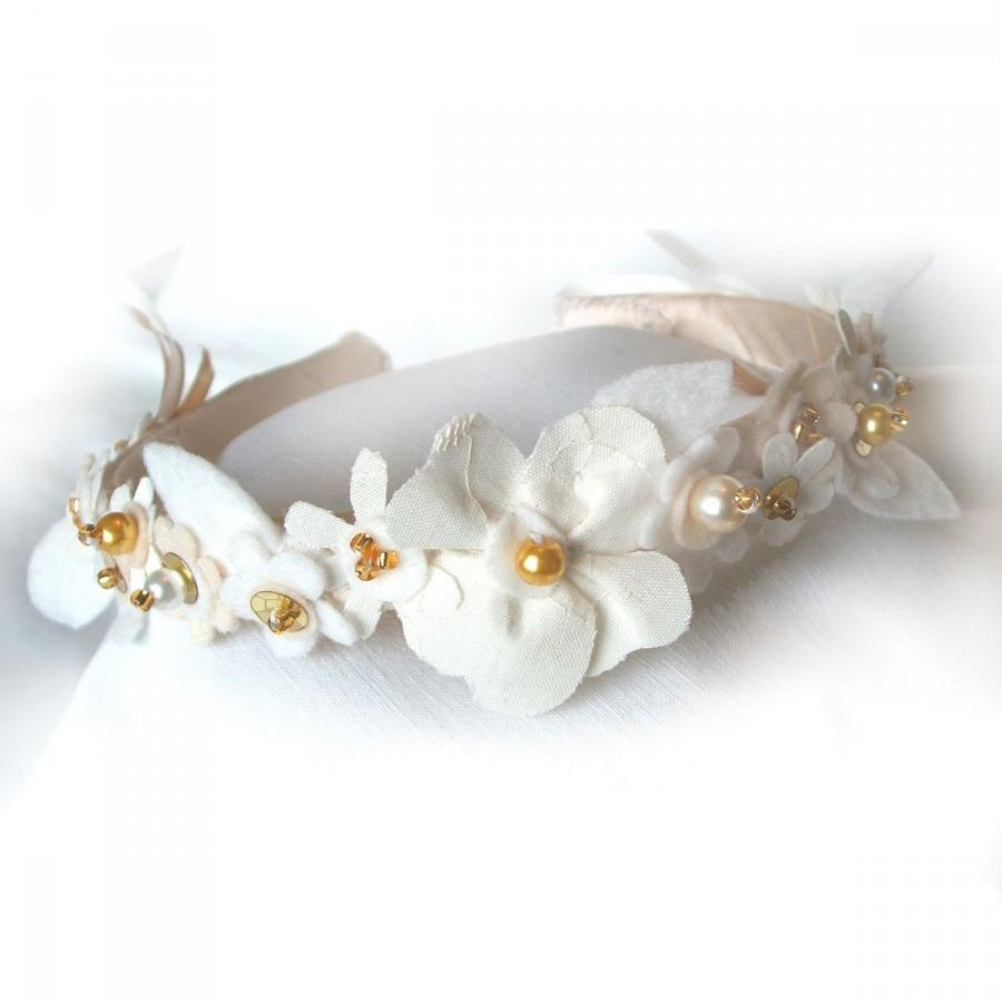 Wedding Headband Cream And White Flowers Bridal Hairband Bridal