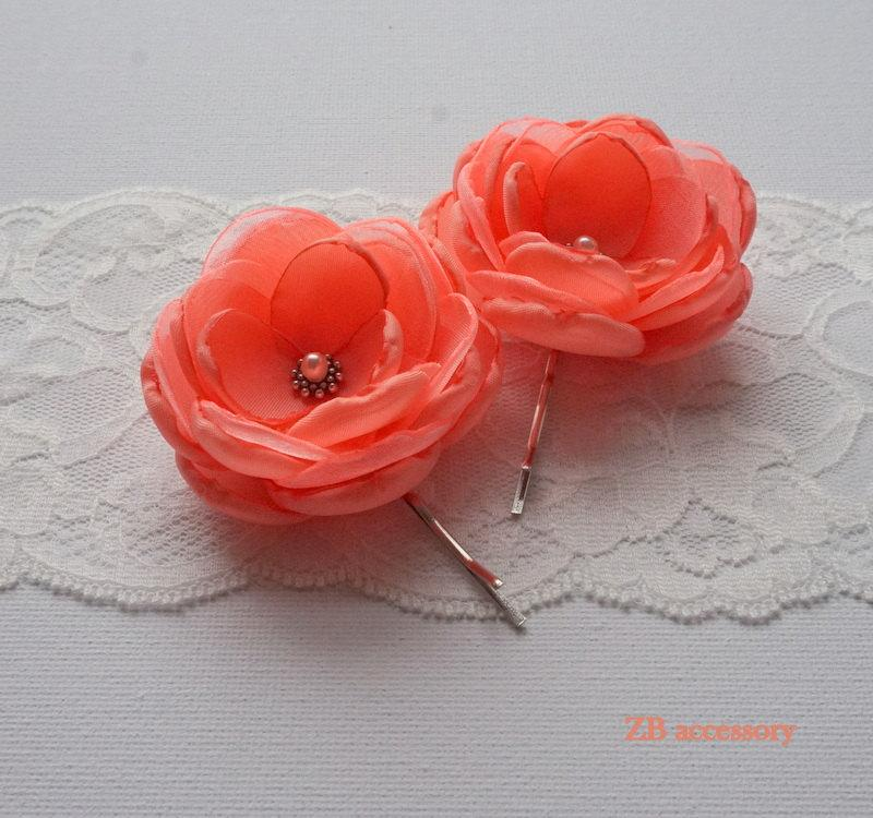 e4182f65d Coral Red Small fabric Flowers, Hair Pins Clips Grips, Shoe Clips, Dress  Sash brooch Ornaments, Bridesmaids Accessories, Handmade Gift UK. 5. Wedding  ...