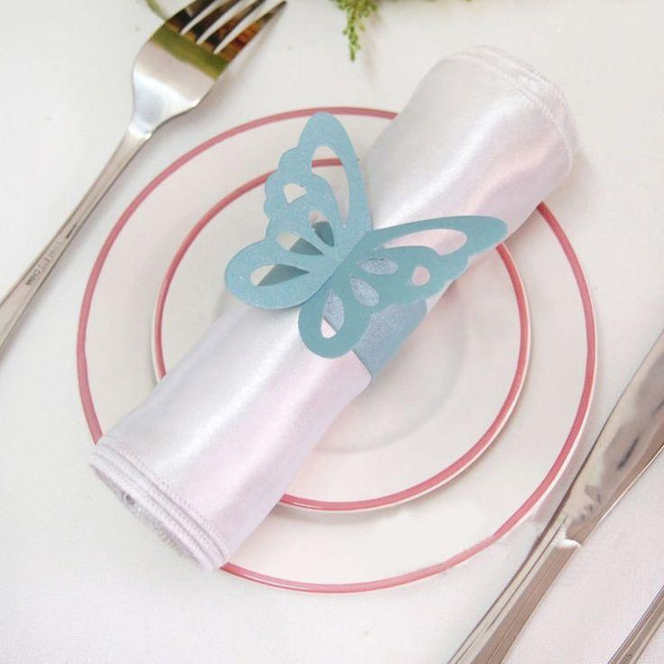 Wedding - 50pcs Butterfly Paper Napkin Rings For Wedding Party Decoration