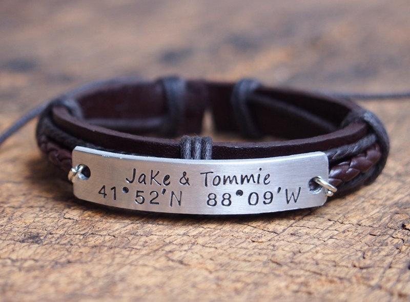 Personalized Nameplate Bracelet Men S Coordinates Mens Leather Customized Engraved Anniversary
