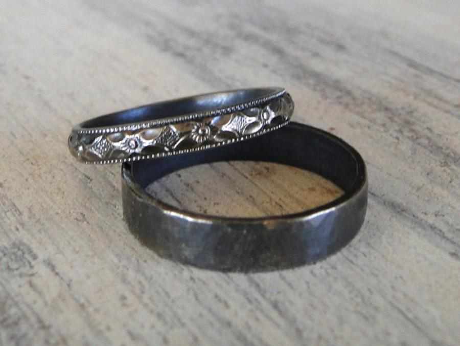 Sterling Silver Rings His And Hers Wedding Rings Black Diamond Patterned