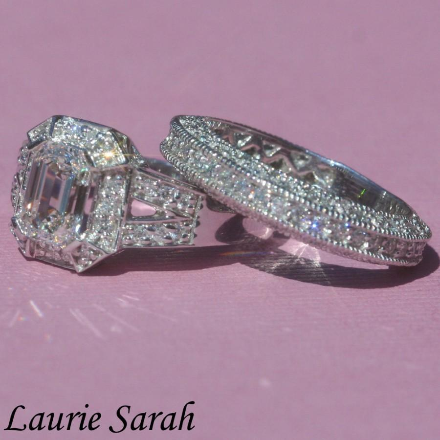 Diamond Engagement Ring Emerald Cut Diamond Engagement Ring And