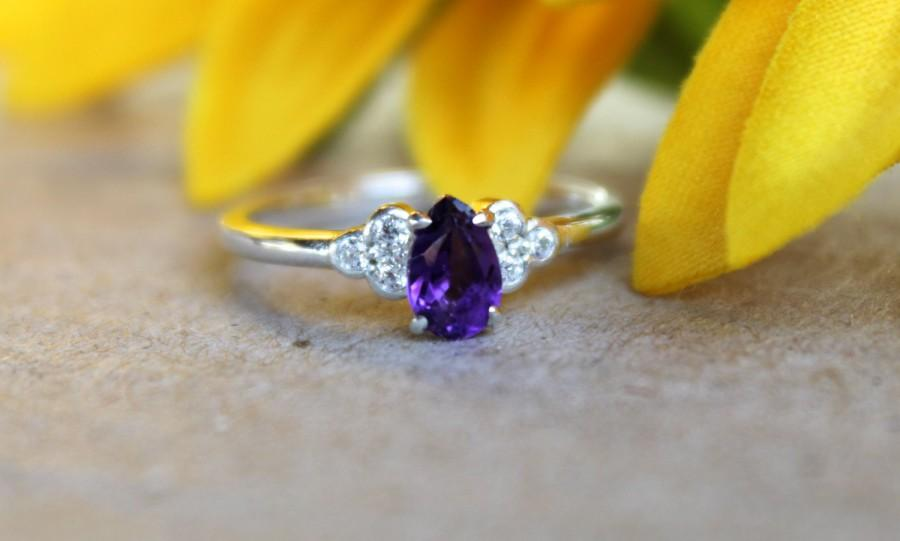 Mariage - Amethyst Engagement ring, white gold, unique engagement band, ring for her