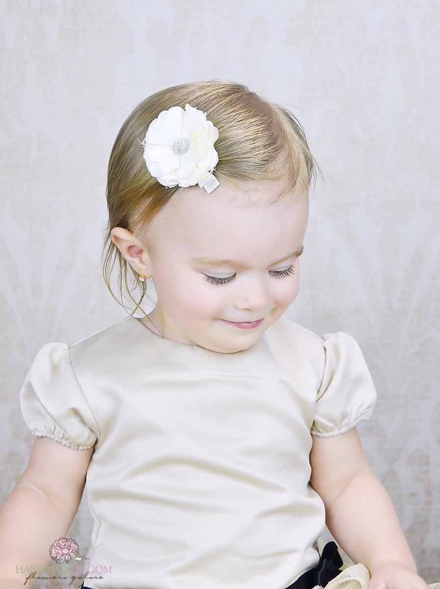 Ivory Hair Clip. Girls Hair Clip. Flower Girls. Hair Accessories ...