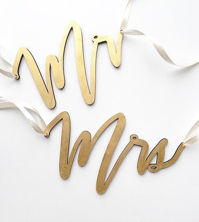 Wedding - Mr. & Mrs. Metallic Wedding Chair Signs
