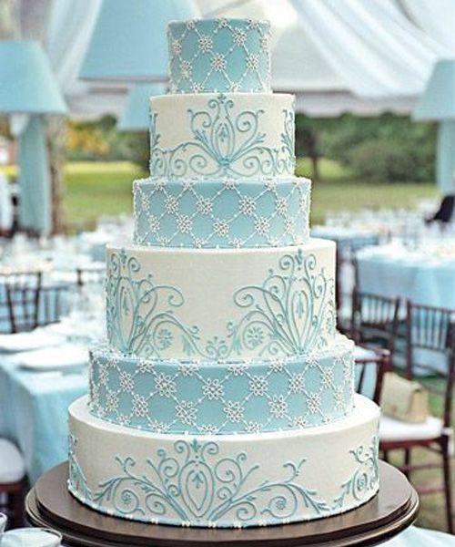 So Beautiful French Blue And White Wedding Cake Design 2572656