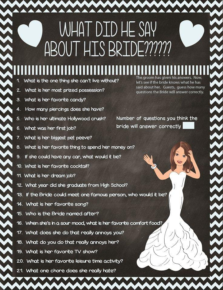 bridal shower game what did he say couple showers printable