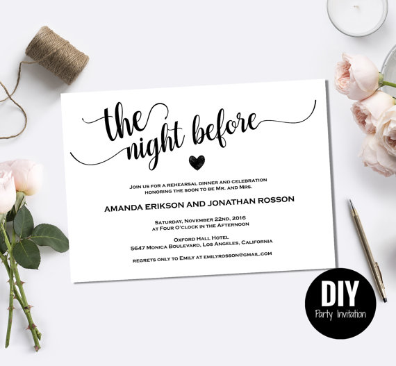 Mariage - Rehearsal dinner invitations the night before