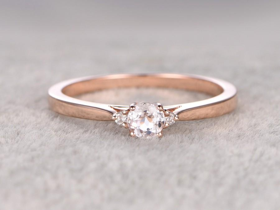 3 Stones Morganite Engagement Ring Rose Gold Diamond Wedding Band