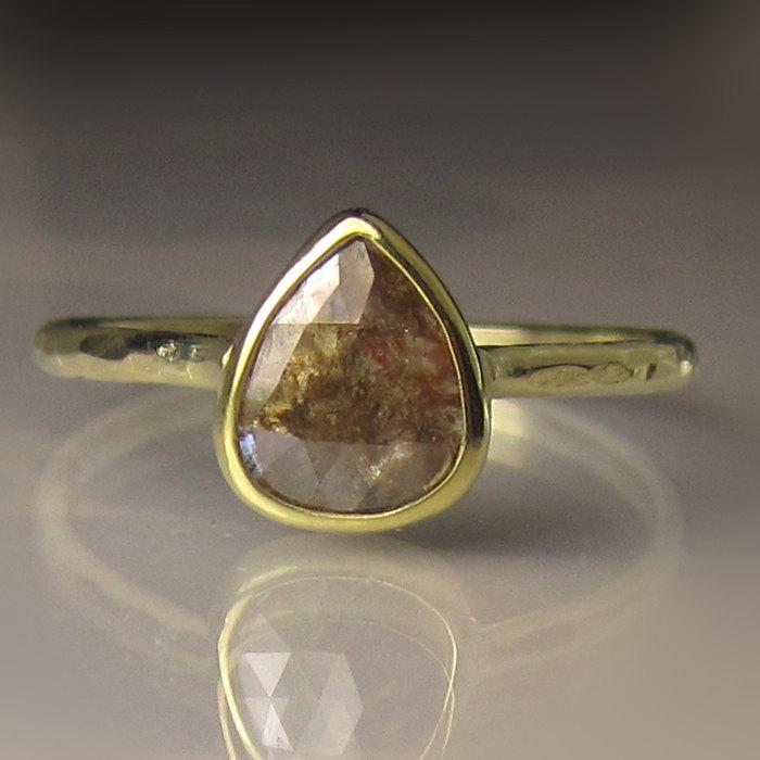 Mariage - Rose Cut  Diamond Engagement Ring, Rose Cut Diamond Ring, 18k and 14k Gold