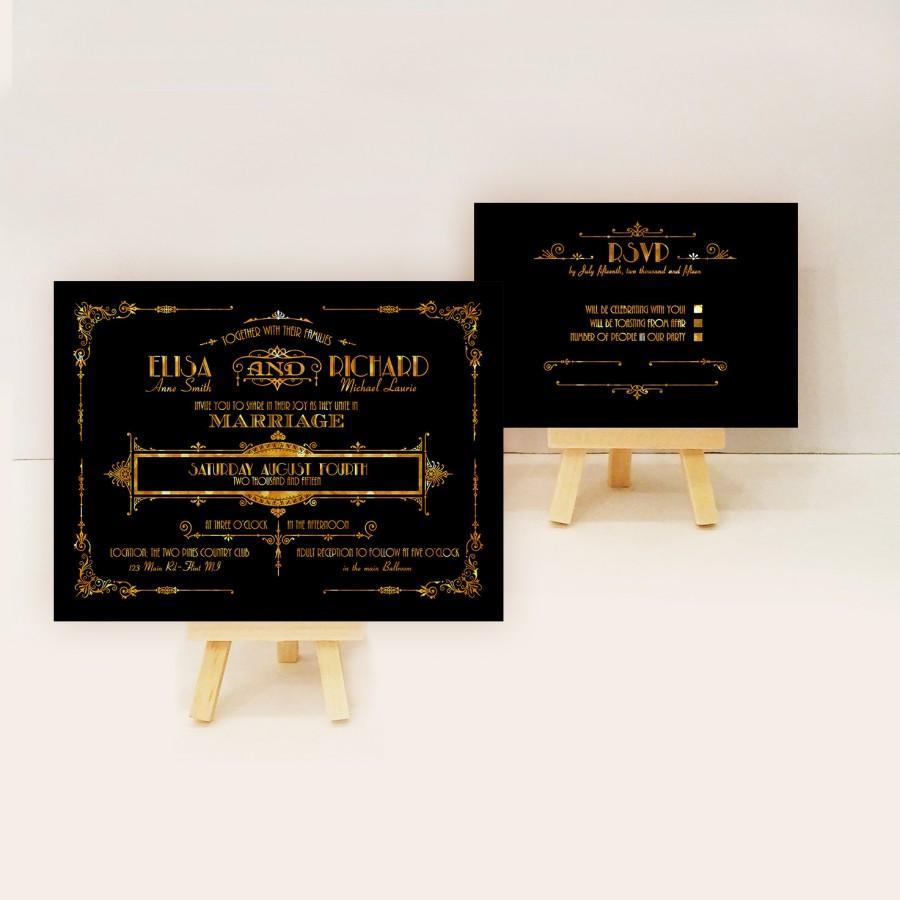 زفاف - Gatsby wedding invitation sample - Art deco wedding invite sample {Galena Design}