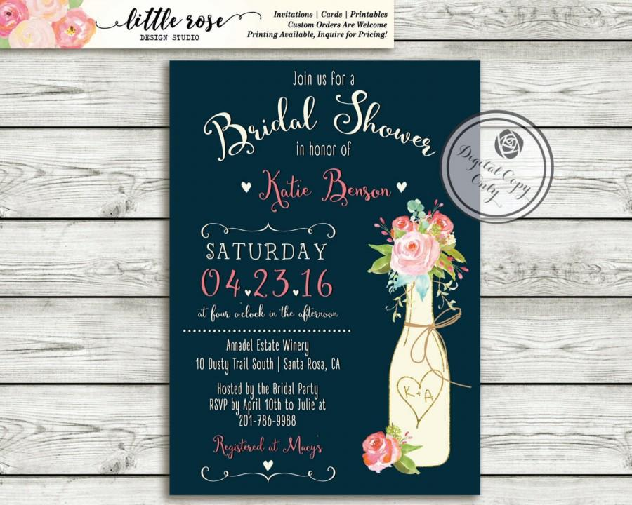 Rustic Wine Bottle Bridal Shower Invitation Navy S Wedding Vineyard Winery Wood Invite Roses Printable Lr1055