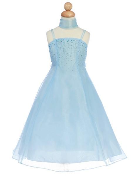 Mariage - Blue Organza A-Line Dress w/ Shawl Style: D180 - Charming Wedding Party Dresses