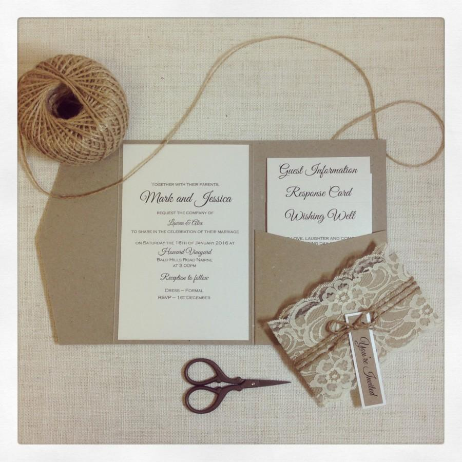Mariage - Wedding invitation Rustic Lace Pocketfold wedding invitation sample