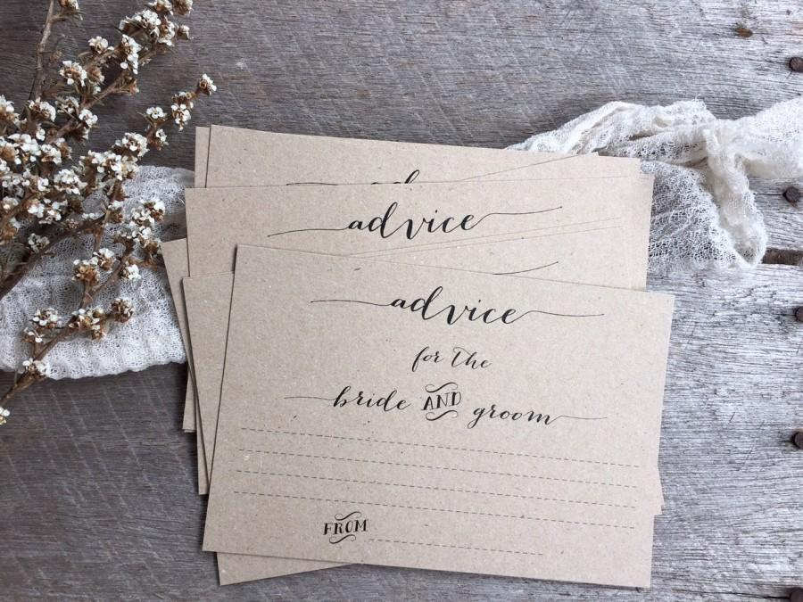Rustic Wedding Advice Cards For The Bride And Groom Newlyweds