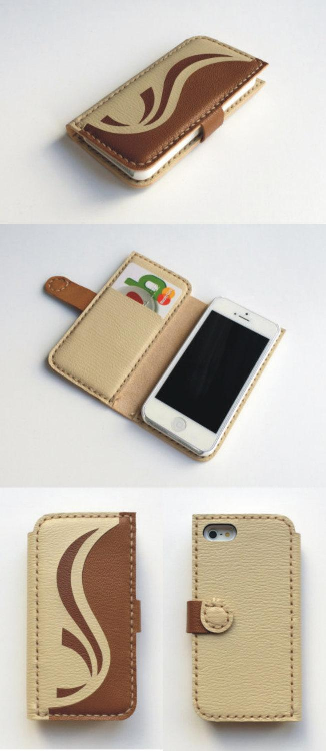Hochzeit - iphone 6 wallet case iphone 5 5s wallet iphone 5c wallet iphone 4 wallet iphone 4s wallet case leather iphone wallet case cream and brown