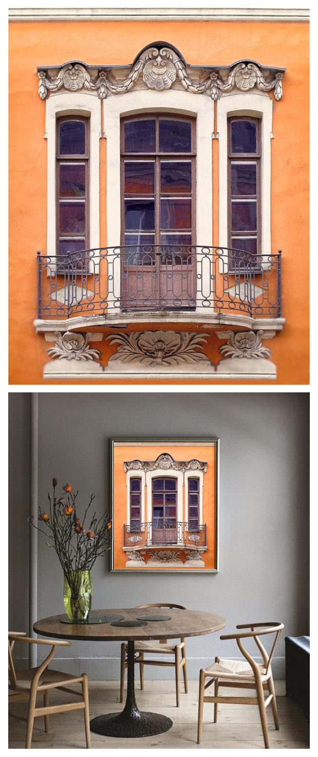Large Architectural Wall Decor : Orange wall art photography window poster architectural