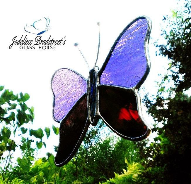 Purple And Plum Butterfly Stained Glass Suncatcher Gift For Mom Home Decor Hanging Window Ornament Garden Decoration Housewarming Glass Art 2572732 Weddbook