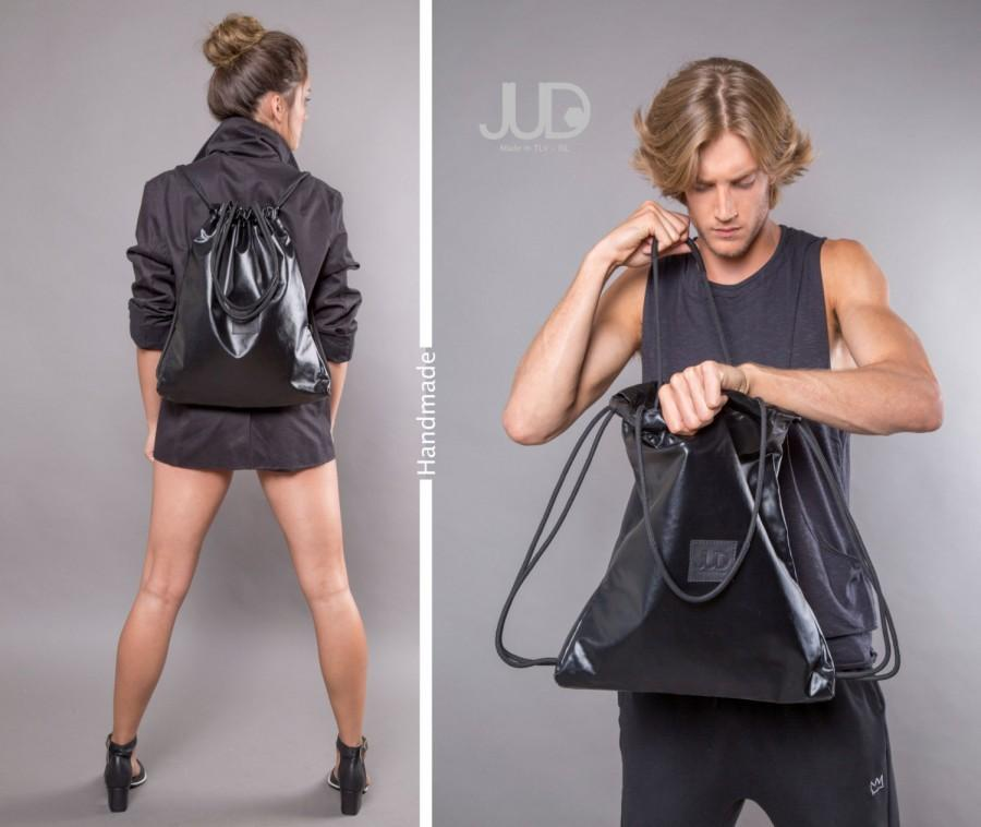 Wedding - Black backpack - multiway handbag - sack bag  SALE black rucksack backpack- drawstring backpack - gym bag - mens backpack women gift for him