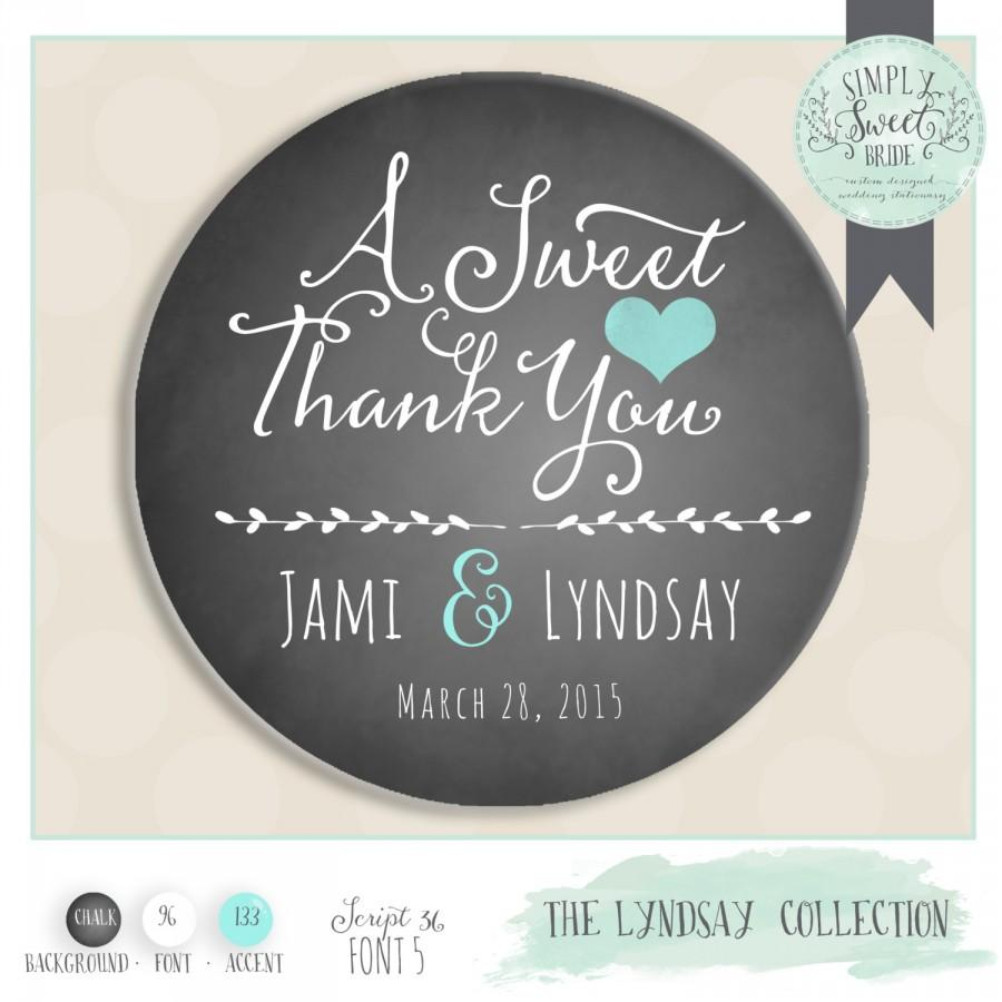 "Mariage - personalized wedding label. Color of Choice. Size 2"" Round. A sweet thank you. Lyndsay  collection Rustic CHALKBOARD. Custom favor sticker"