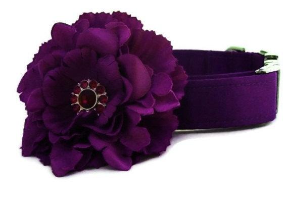 Wedding - Purple Satin Wedding Dog Collar with Flower Accessory