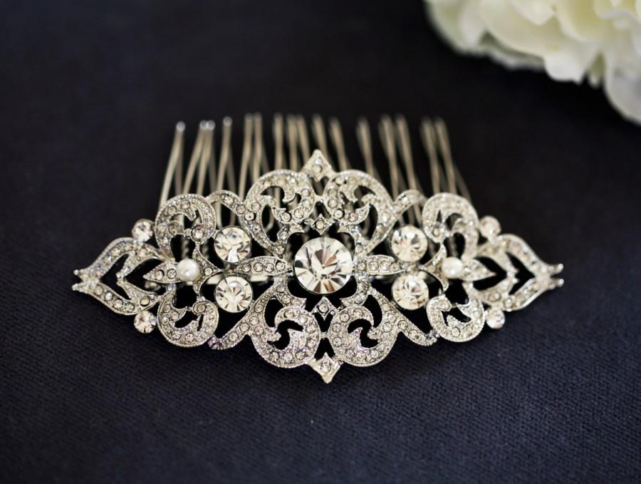 Art Nouveau Bridal Hair Comb Crystal Wedding Piece Vintage Clip Rhinestone