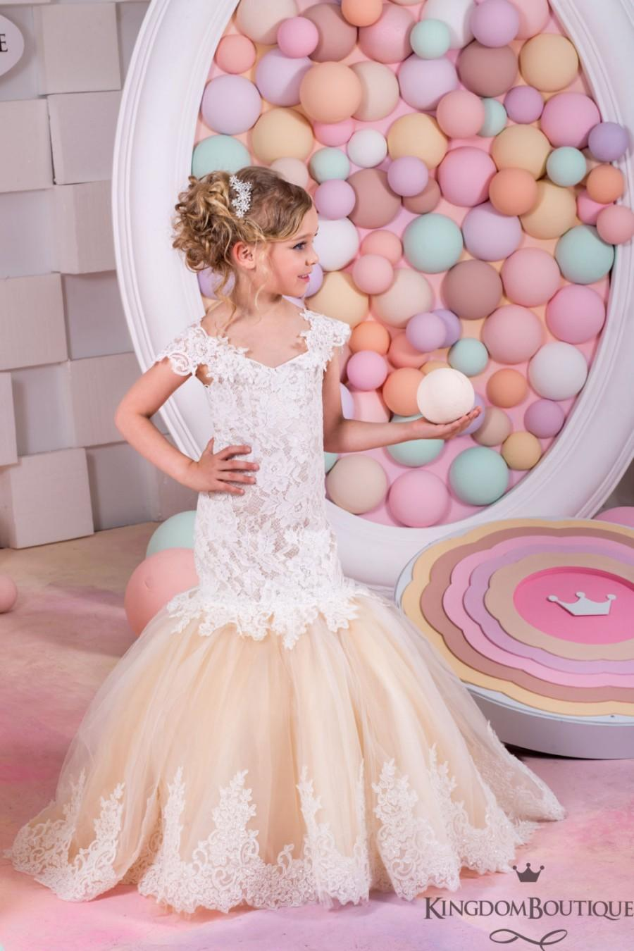 Ivory And Blush Flower Girl Mermaid Style Dress Wedding Party