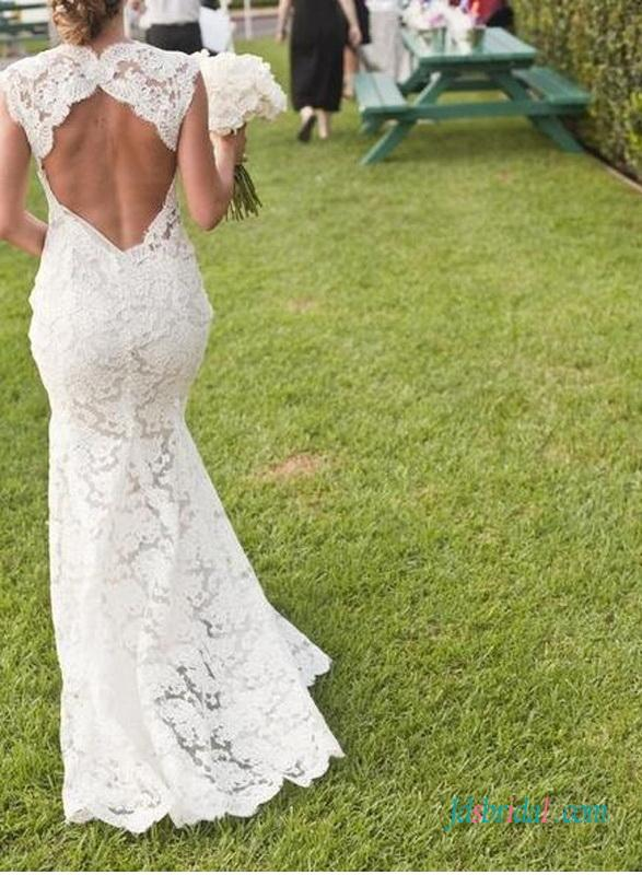 Sexy Inspired Designer Lace Keyhole Back Wedding Dress 2572805