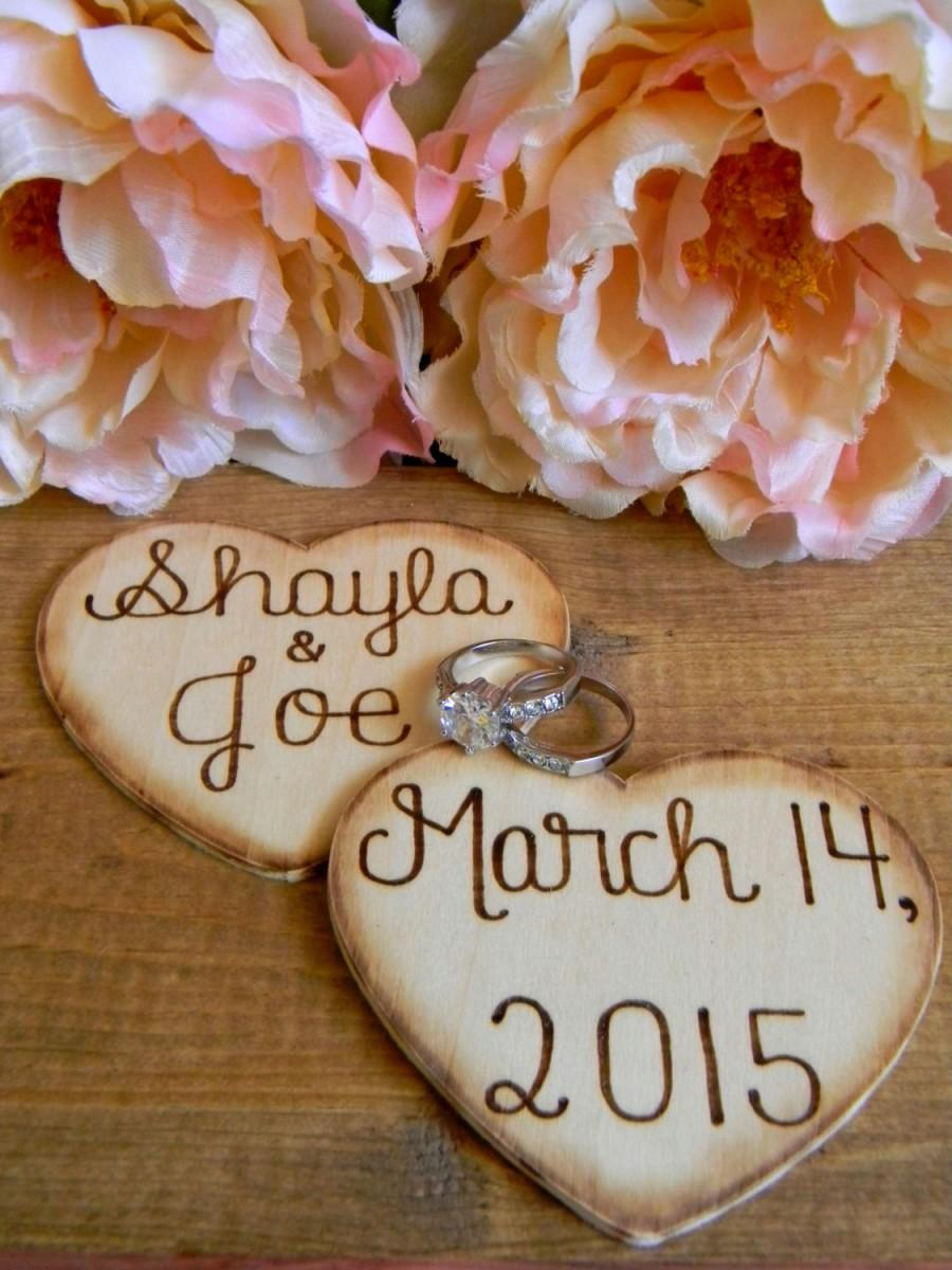 Свадьба - Rustic Charm Large Wooden Hearts Wood Burned Engraved No Hole 4.50 Per Heart Bridesmaid Heart Bridal Party Heart Personalized Custom Heart
