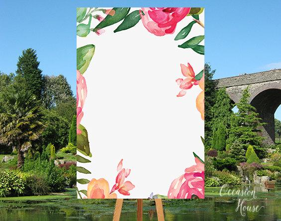 printable floral watercolor welcome wedding sign blank template diy