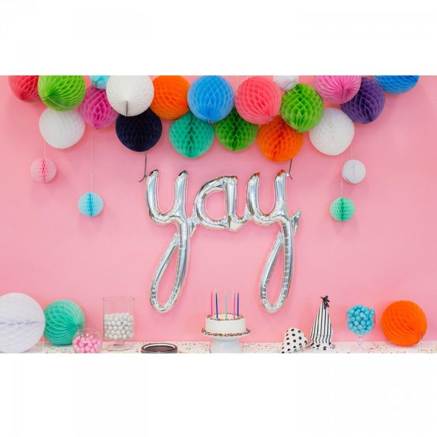 Engagement party decoration yay balloon letter for Balloon banner decoration