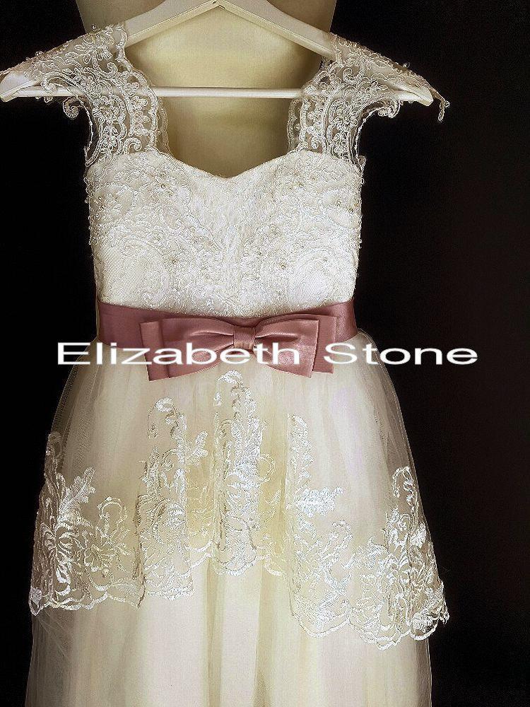 زفاف - Ivory Lace Flower Girl Communion Dress