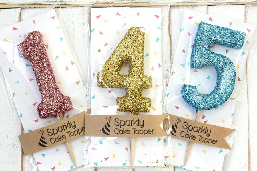 Hochzeit - Glitter Number Cake Topper - cupcake topper, first birthday