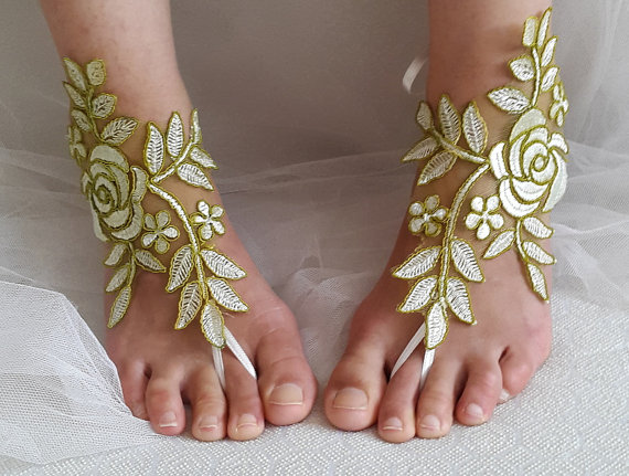 Mariage - bridal accessories, lace,green wedding sandals, shoes, free shipping! Anklet, bridal sandals, bridesmaids, wedding gifts.......