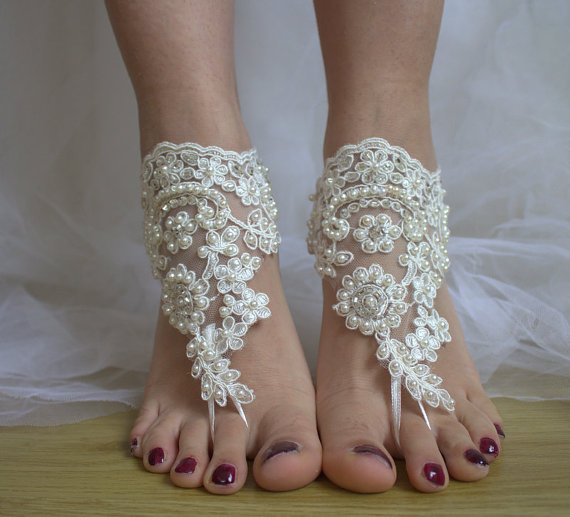 Свадьба - Beaded ivory lace wedding sandals, free shipping!