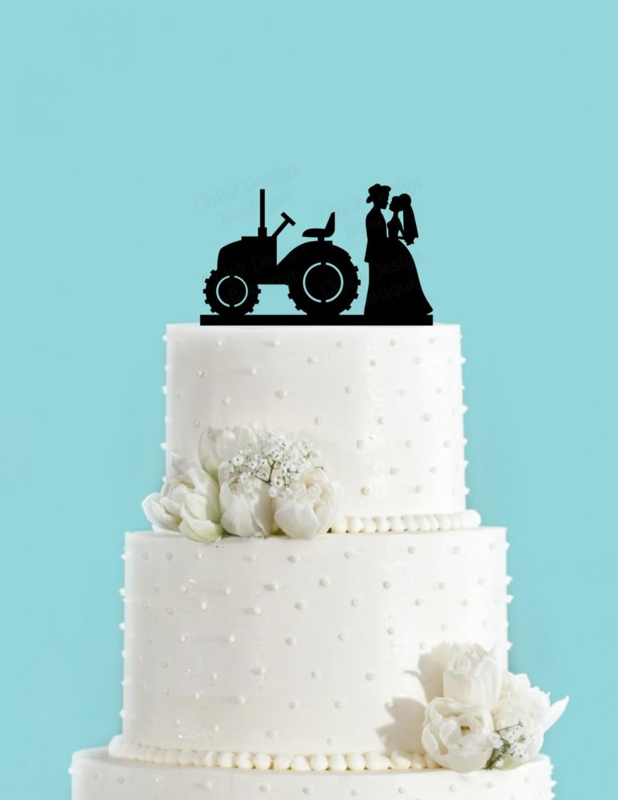 Mariage - Country Wedding Couple and Tractor Couple in Love Acrylic Wedding Cake Topper