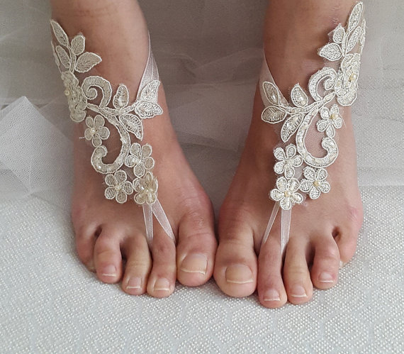 Wedding - Beaded champagne lace wedding sandals, free shipping!
