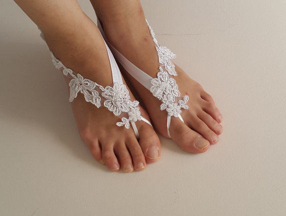 Bridal Accessories White Lace Wedding Sandals Shoes Free Shipping Anklet Bridesmaids Gifts