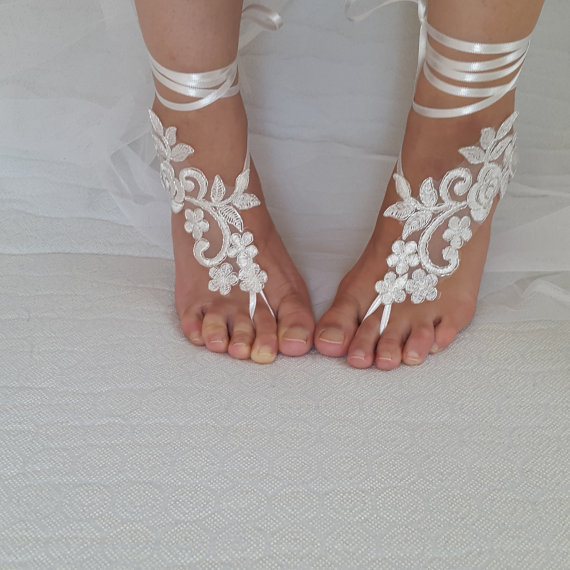 Свадьба - bridal accessories, silver frame,ivory lace, wedding sandals, shoes, free shipping! Anklet, bridal sandals, bridesmaids, wedding