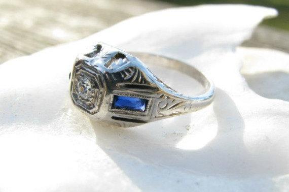 Свадьба - Art Deco Diamond Sapphire Ring, Fiery Old Cut Diamond, Pretty Details in White Gold, Dainty, Circa 1920's