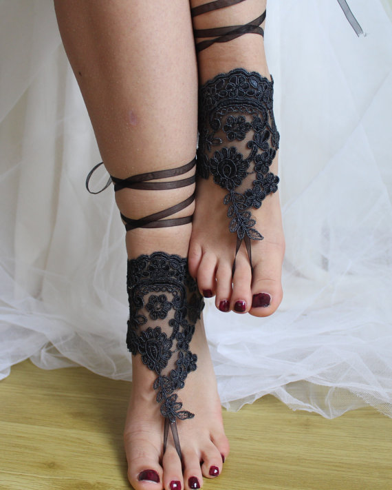 Свадьба - pale black, lace, wedding sandals, bridal accessores, beach sandals, free shipping!