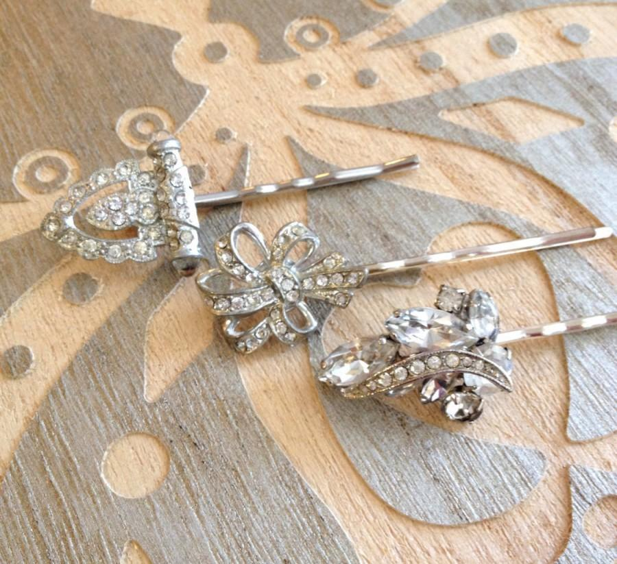 Art Deco Pave Rhinestone Hair Pins Set 1920s Weddings Rustic Bridal Jewelry Country Vintage
